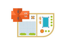 Top view of outdoor house. Stock Image