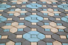 Top view outdoor texture colorful footpath floor no body in the city royalty free stock photo