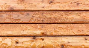 Top view of outdoor wooden stain deck boards with natural rain water on top of them. Overhead view of outdoor wooden stain deck boards with natural rain water on stock images