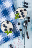 Top view over blueberries with yogurt Stock Image