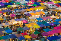 Top view over city night market