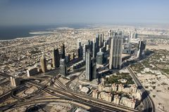 Top view over Dubai from Burj Khalifa skyscraper Royalty Free Stock Photos
