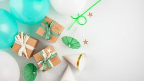 Top view over the gift boxes with ballons and party decoration. Stock Image