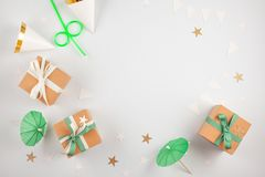 Top view over the gift boxes with ballons and party decoration. Stock Images