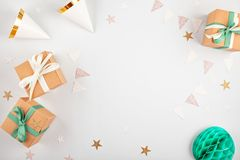 Top view over the gift boxes with ballons and party decoration. Parties and celebration concept stock photography
