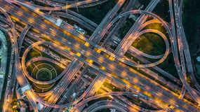 Top view over the highway,expressway and motorway at night, Aerial view interchange of a city, Shot from drone, Expressway is. Top view over the highway stock photos