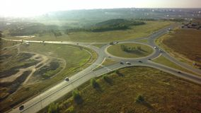 Top view over the highway junction. Aerial Drone Flight View of. Freeway road stock photo