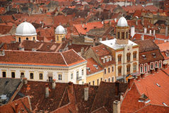 Top view over the historical buildings in Brasov - Romania. Top view over the historical buildings from Brasov or Kronstadt as it is also called in German - town Stock Image