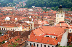 Top view over the historical buildings in Brasov - Romania. Top view over the historical buildings from Brasov or Kronstadt as it is also called in German - town Royalty Free Stock Images