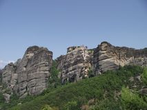Meteora cliffs in Greece, top view royalty free stock photos
