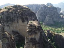 Splendid view of Meteora cliffs in Greece royalty free stock photography