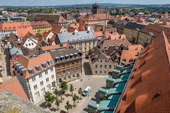 Top view over the old town of Bayreuth Germany Bavaria Stock Photography