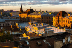 Top view over the roofs of the old center of St. Petersburg Royalty Free Stock Images