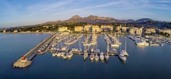 Top view over Yacht Marina on Spanish Costa Blanca - Altea Stock Photo
