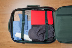 Top View of a Packed Suitcase Royalty Free Stock Photo