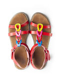 Top view on pair of colorful female sandals Royalty Free Stock Images