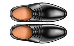 Top view of a pair of fashion elegant black men`s shoes. 3d render of leather male boots isolated on white background. A pair of fashion elegant black men`s stock illustration