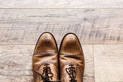 Pair of leather brown shoes on wooden floor. Top view of pair of leather brown shoes on wooden floor Royalty Free Stock Photos