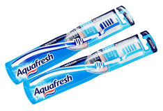 Top view of pair packaging Aquafresh toothbrushes isolated on white Royalty Free Stock Image