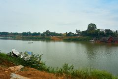 Top view of pakse, Mekong River in Laos royalty free stock photography
