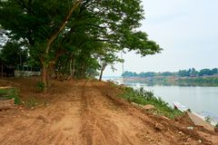 Top view of pakse, Mekong River in Laos royalty free stock images