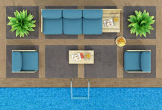 Top view of pallet sofa by the pool Stock Images