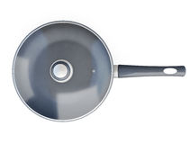 Top view of pan with a lid isolated on white background. 3d rend Stock Image