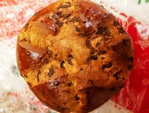 Top view of a panettone stock images