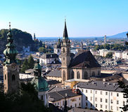 top view of the panorama of the city of Salzburg Royalty Free Stock Photography