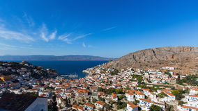 Top view, panorama of the island of Hydra Stock Photography