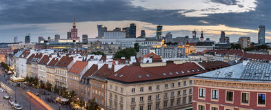 Top view panorama  of the old town in Warsaw Stock Images