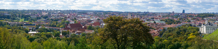 Top view panorama of Vilnius old town Royalty Free Stock Photo