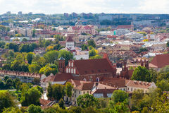 Top view panorama of Vilnius old town Royalty Free Stock Photos