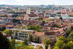 Top view panorama of Vilnius old town Stock Photos