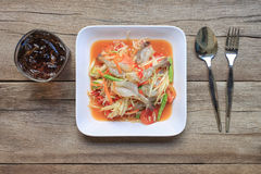 Top view Papaya salad of somtum in Thai food style for design di. Et background Stock Photo