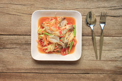 Top view Papaya salad of somtum in Thai food style for design di. Et background Royalty Free Stock Photography