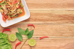 Top view Papaya salad of somtum in Thai food style for design di. Et background Stock Photography