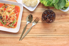 Top view Papaya salad of somtum in Thai food style for design. Diet background Royalty Free Stock Photography