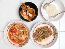 Top view of Papaya salad with Spicy minced pork,Fried chicken. And Sticky rice,Thai local food Royalty Free Stock Photography