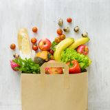 Top View Paper Bag Of Different Fresh Health Food Stock Photo