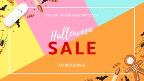 Halloween sale web banner with treats Stock Images