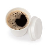 Top view of a paper cup of black coffee Royalty Free Stock Images