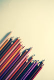 Top-view of paper and pencils Stock Photo