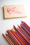 Top-view of paper and pencils Royalty Free Stock Photos