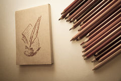 Top-view of paper and pencils Royalty Free Stock Images