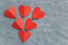 Top view paper red hearts royalty free stock photos