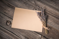 Top view of a paper sheet and dried lavender Stock Photos
