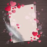 Top view of paper sheet with feather and pink paper hearts and bokeh on wood background concept. Empty and blank space for text. Holiday design, decor. Vector vector illustration