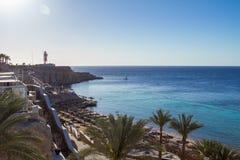Top View of Paradise borderless beach on the sharm el sheikh resort.  stock photos