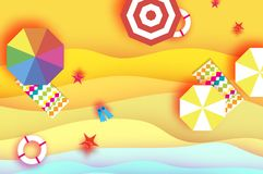 Top view Parasols - umbrella in paper cut style. Origami sand beach with summer equipment . Beach rest. Vacation and. Travel concept. Space for text. Vector vector illustration